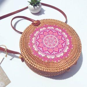 Handcrafted Mandala Boho Circular Bamboo Bag